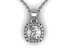 Picture of Cushion center Cushion outline pendant with bail