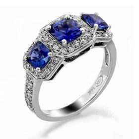 Picture of Three stone halo under gallery princess cut