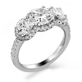 Picture of Three stone halo split prong set
