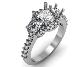 Picture of Three stone halo shared prong set 2
