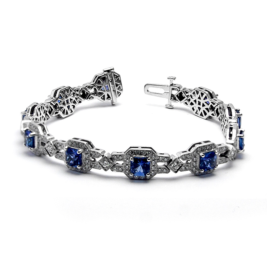 color waved jewelry cz bracelet tennis blue sapphire bling silver