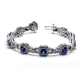 Picture of Blue sapphire bracelet with princess cut stones