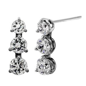 Picture of Three stone dangle earrings with the stud