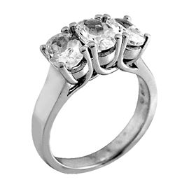 Picture of Three stone trellis ring Oval shape same size stones