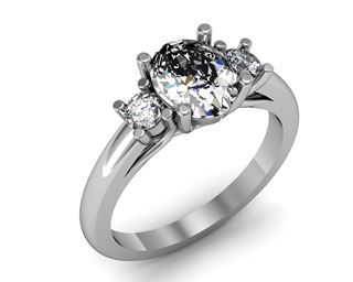 Picture of Trellis three stone ring round side stones oval center