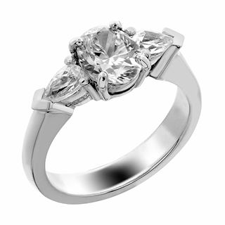 Picture of Three stone ring pear side stones oval center