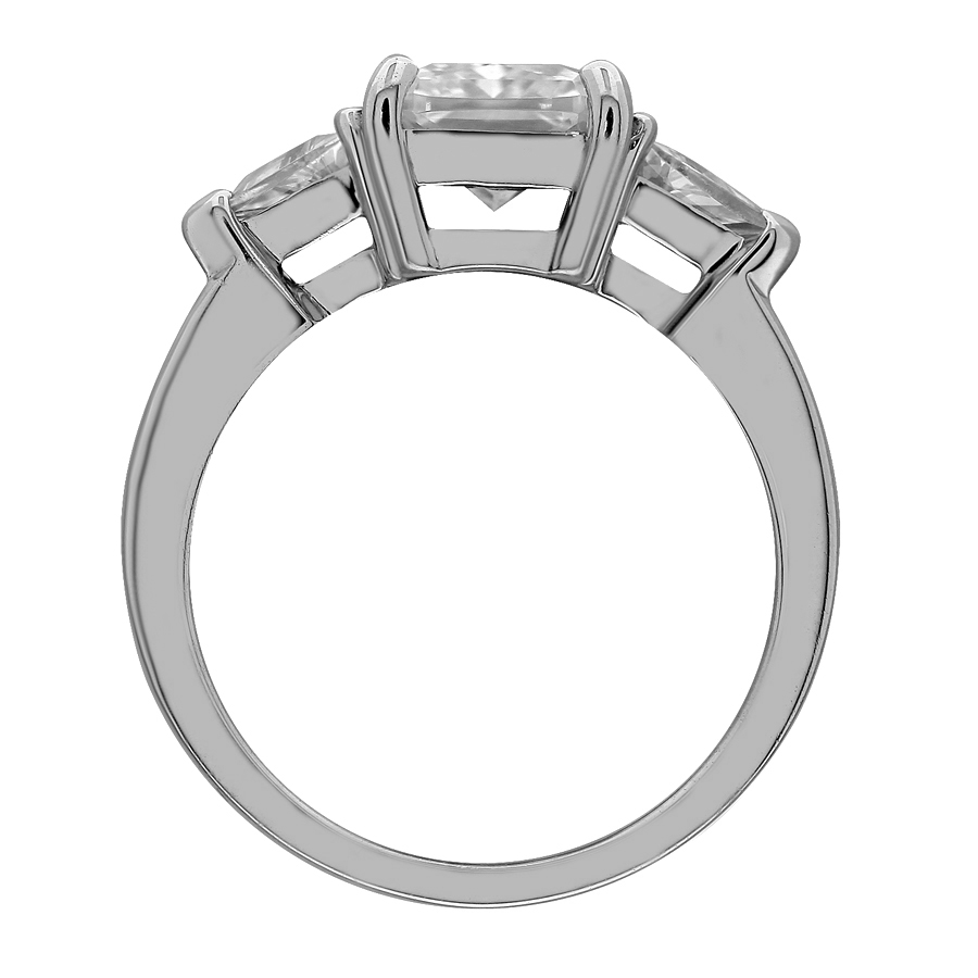 marshall cut carat bag stone emerald company platinum stones side by tapered engagement in rings ring product diamond three pierce