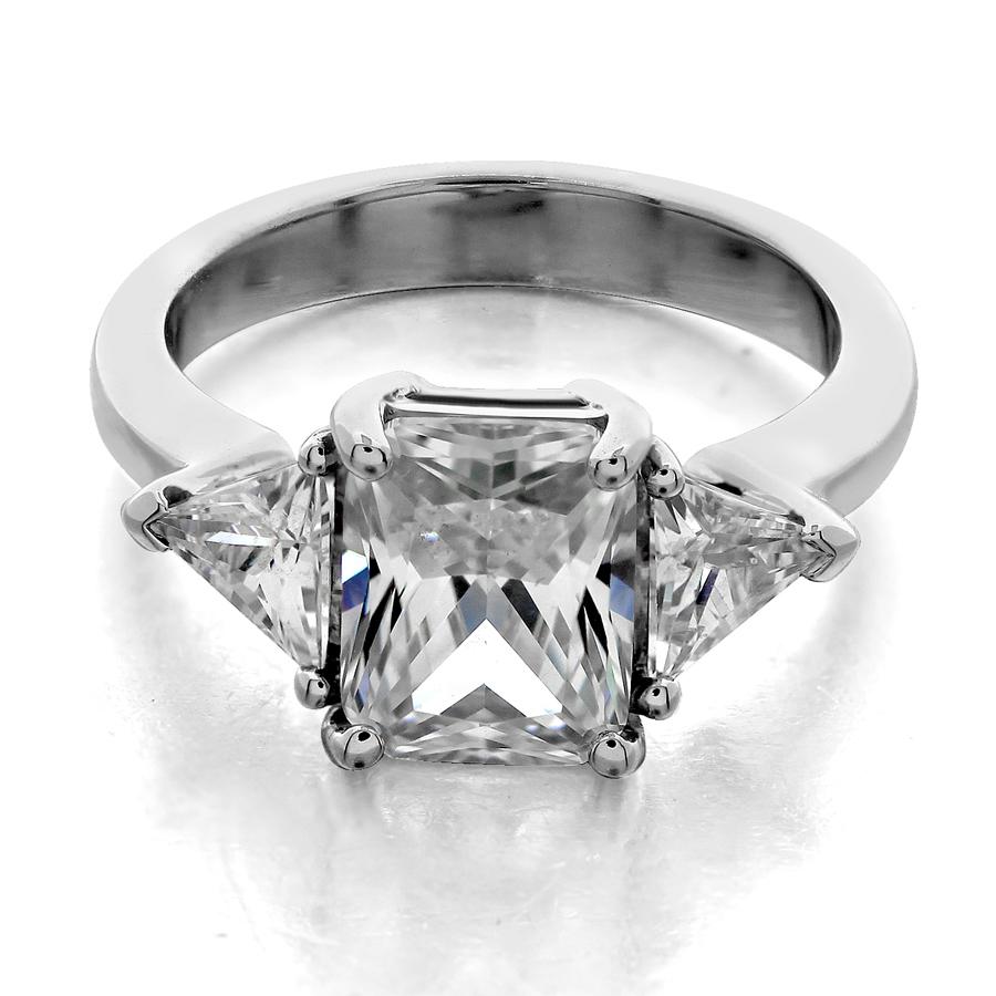 Stuller Three Stone Side Stones: Three Stone Ring Trilliant Side Stones Emerald Center