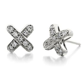 Picture of Cross earrings with round stones