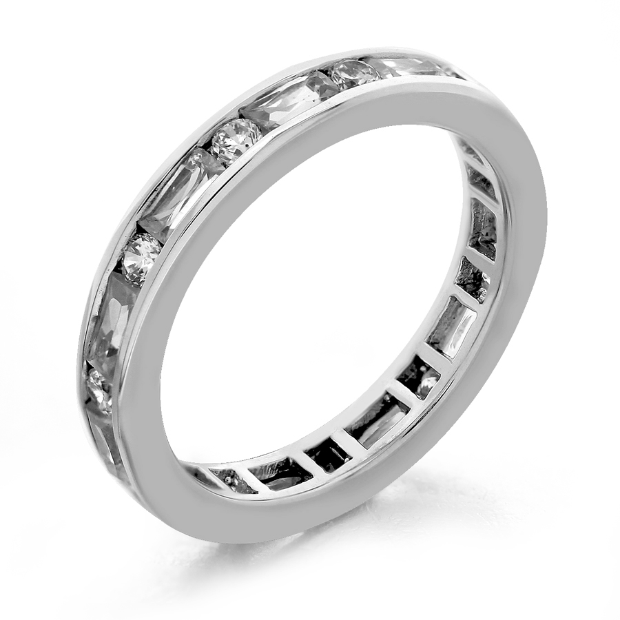 cz wedding front jewelry channel band eternity popular silver baguette platinum zirconia cubic white diamond bands karat gold sterling ring products