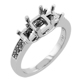Picture of Trellis three stone ring pave set square stones