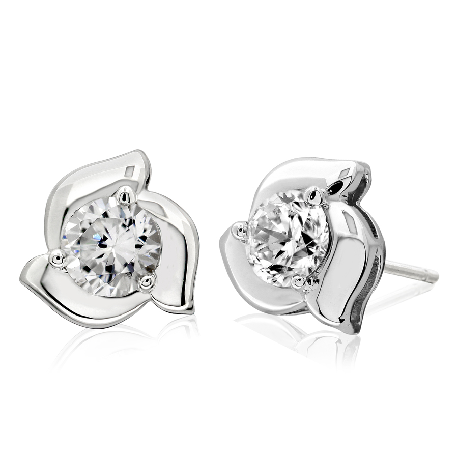 pin diamond in brilliant prong round earrings stud cut mounting martini