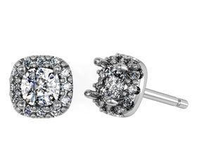 Picture of Halo earrings cushion center stone