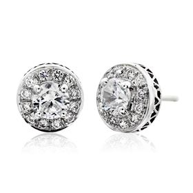 Picture of Four prong round center earrings with filigree