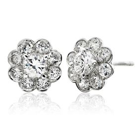 Picture of Bezel set earrings with four prong center