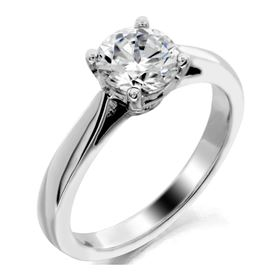 Picture of Cathedral style 4 prong head solitaire ring