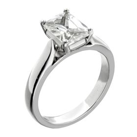 Picture of Emerald cut 4 prong head solitaire ring