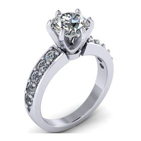Picture of 6 prong Solitaire with accents prong set