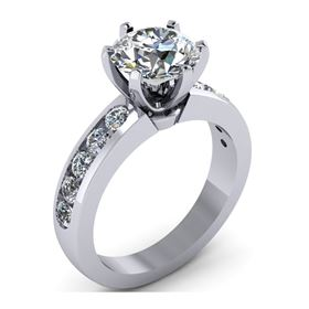 Picture of 6 prong Solitaire with accents channel set