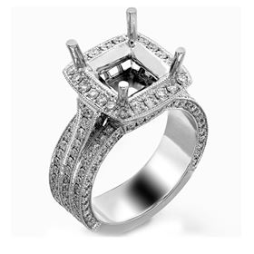 Picture of Three row halo emerald cut center
