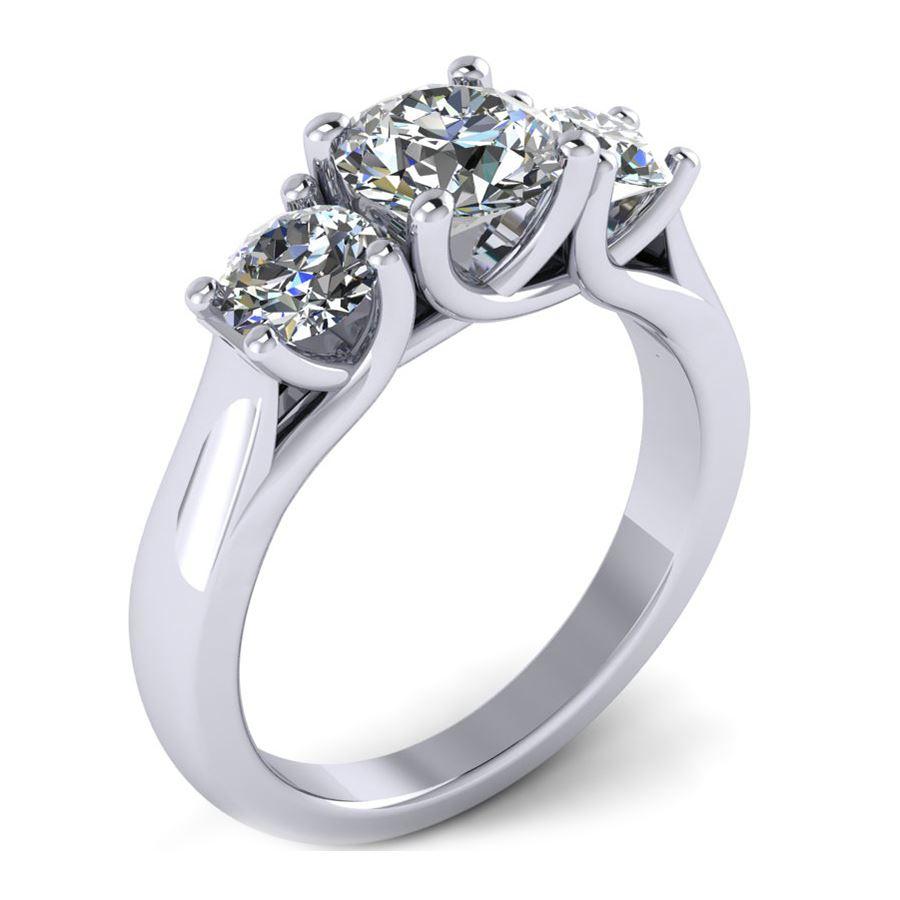 Trellis Three Stone Ring Round Stones Fine Jewelry