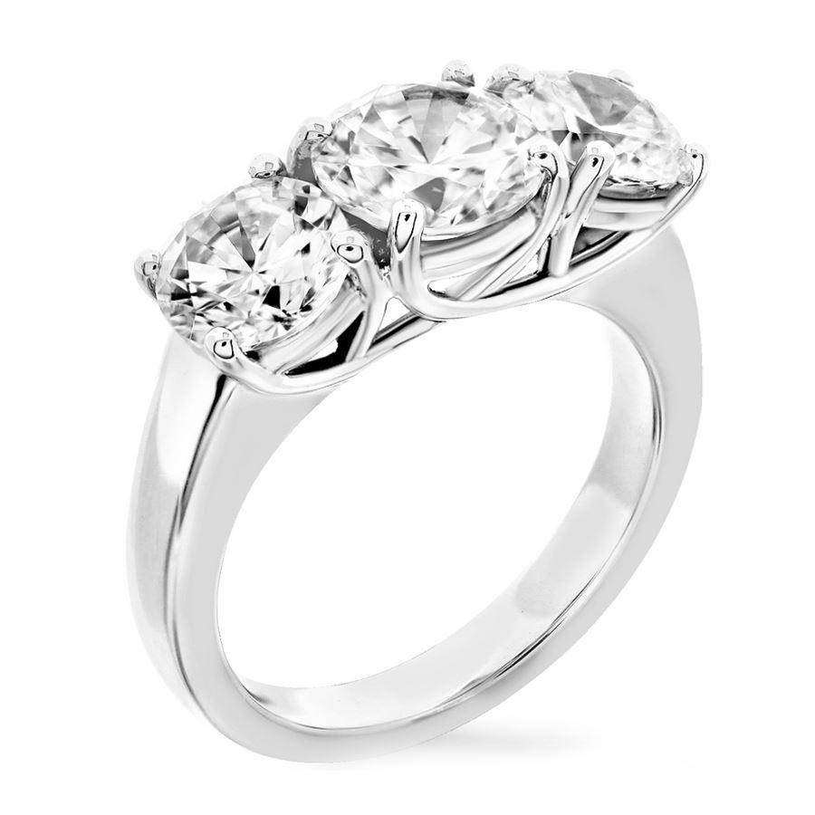 Trellis Three Stone Ring Same Size Round Stones Fine