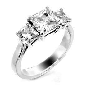 Picture of Three stone ring princess cut stones basket style 2