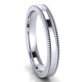 Picture of 3.0mm Platinum Half Round Comfort Fit Band With Milgrain