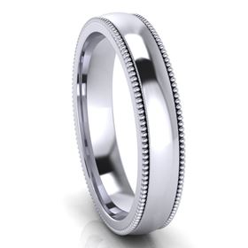 Picture of 4.0mm Platinum Half Round Comfort Fit Band With Milgrain