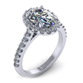 Picture of Oval outline halo shared prong 1