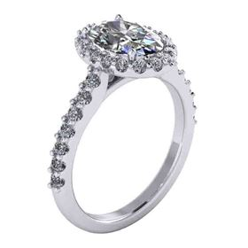 Picture of Oval outline halo shared prong 2