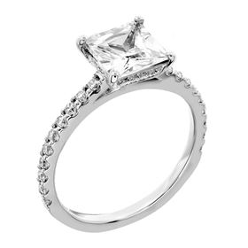 Picture of Square center with one row shared prong and small diamonds head