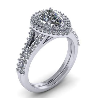 Picture of Pear center double halo with two row shared prong